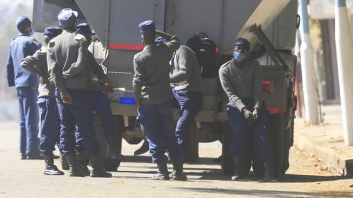 There is a heavy police presence in Harare