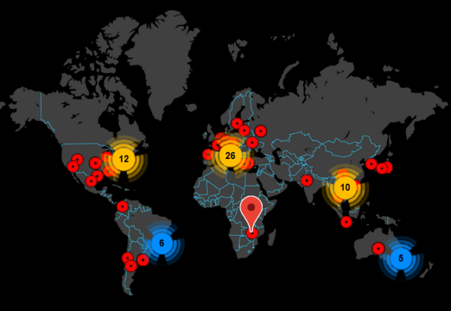A map showing where Emotet hit on Friday.