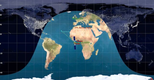 An attacker from anywhere within tens of millions of square kilometers can hijack the connection between a ship off the coast of Africa and a ground station in Ireland.