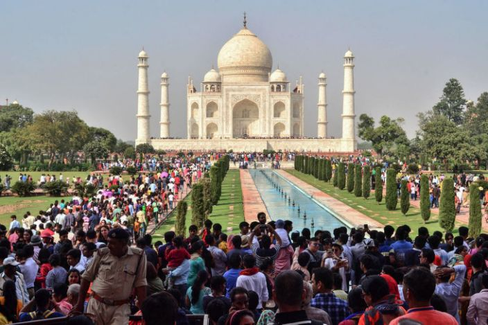 The Taj Mahal has always attracted large crowds