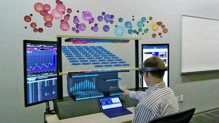 Citigroup's augmented reality workstation, combining 3D holograms and real-time financial data. The bank developed the system four years ago but never implemented it.