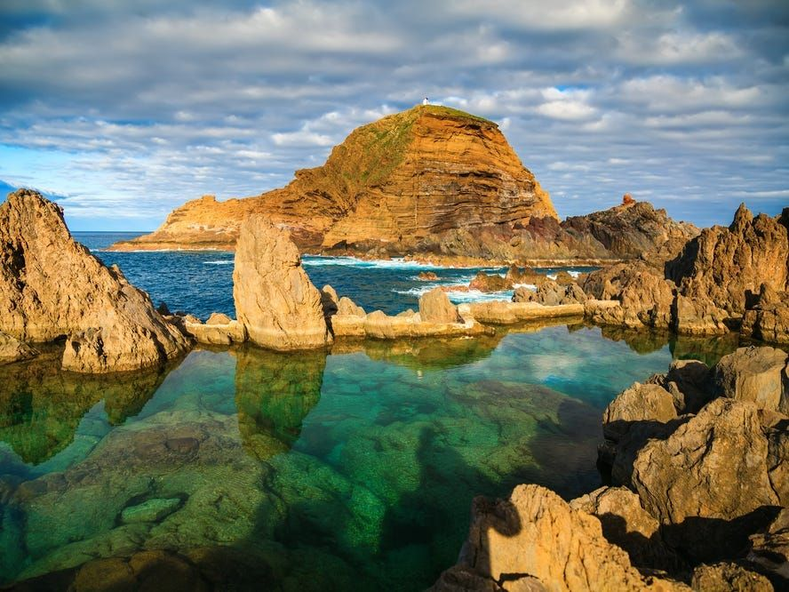natural swimming pools of volcanic lava in Porto Moniz, Madeira island, Portugal
