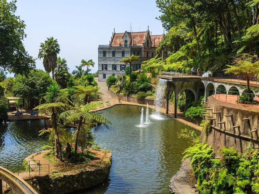 Monte Tropical Gardens with view of palace on lake, Funchal, Madeira island, Portugal