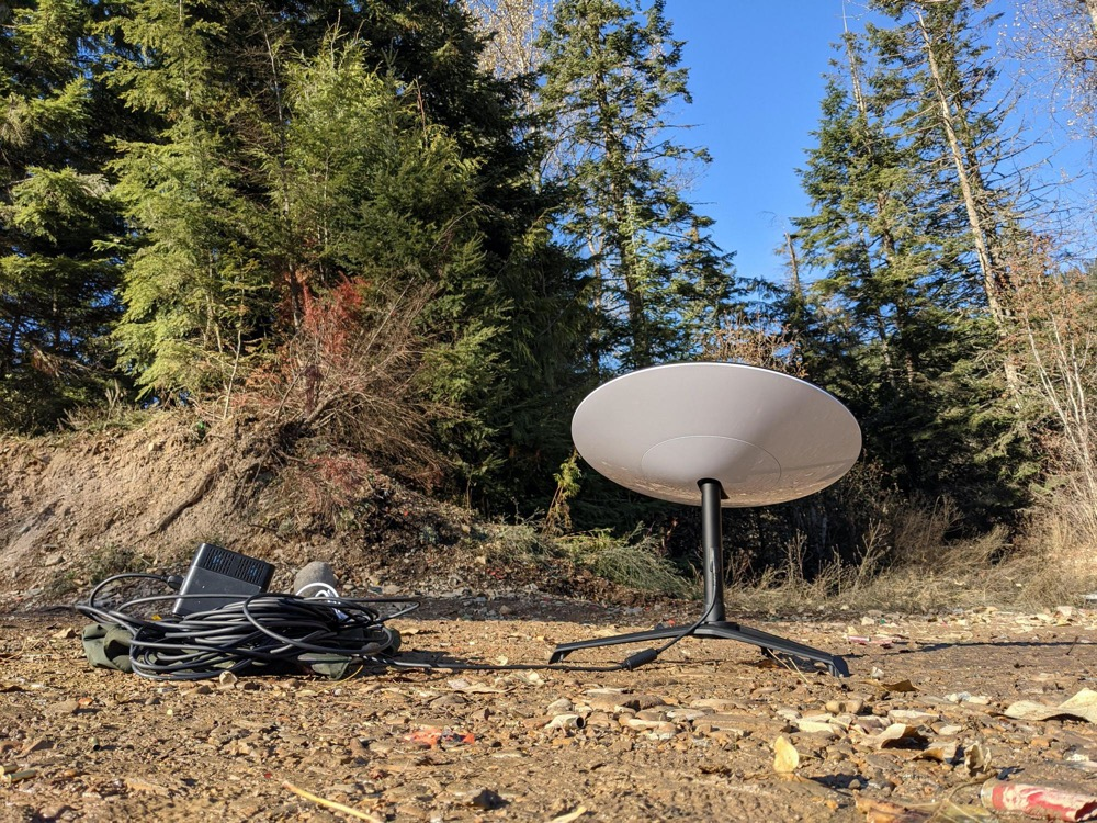 Starlink satellite dish and equipment in the Idaho panhandle's Coeur d'Alene National Forest.