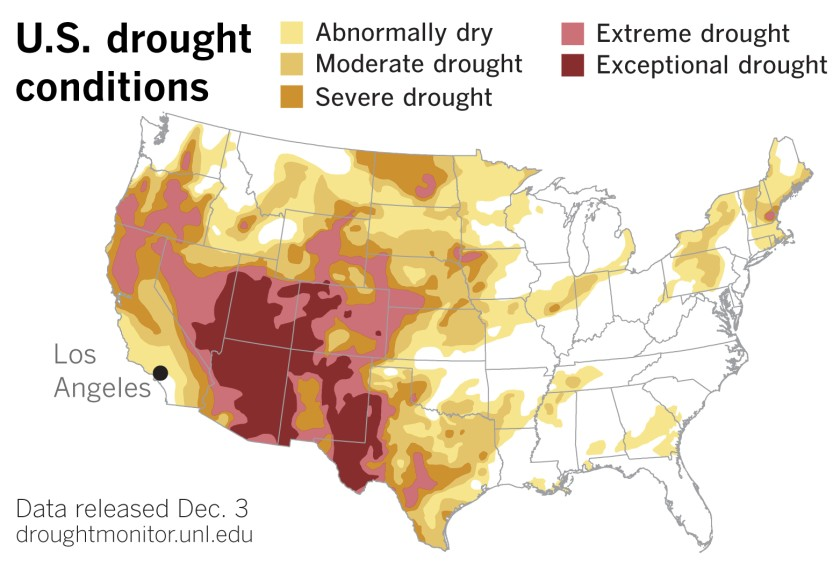 Most recent U.S. Drought Monitor data released Dec. 3.