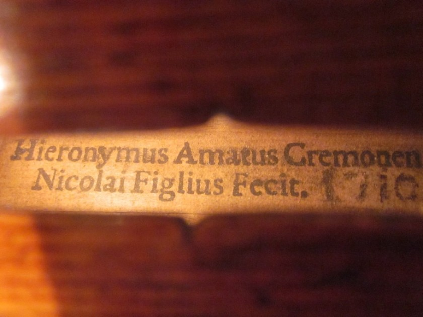 A detail of the 1710 Amati violin, which was made by Hieronymus Amati II in Cremona, Italy.