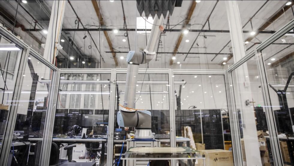 A Project Kuiper prototype antenna at an Amazon lab.