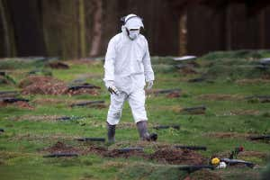 A worker wearing a protective suit walks at a cemetery in Chislehurst, on the outskirts of London, UK