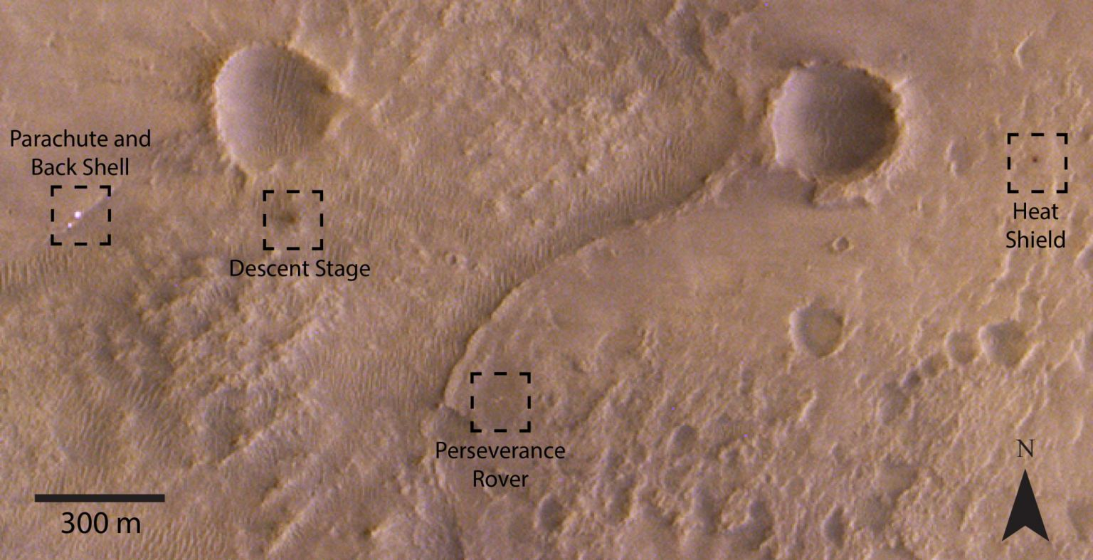Close-up of Perseverance and mission elements in the Jezero crater. (ESA)