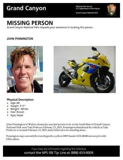 A missing person flyer issued by the National Park Service for John Pennington.